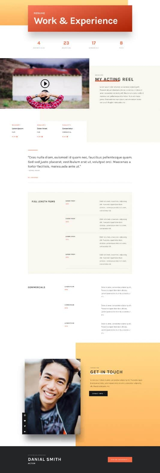 Actor CV Web Design 7