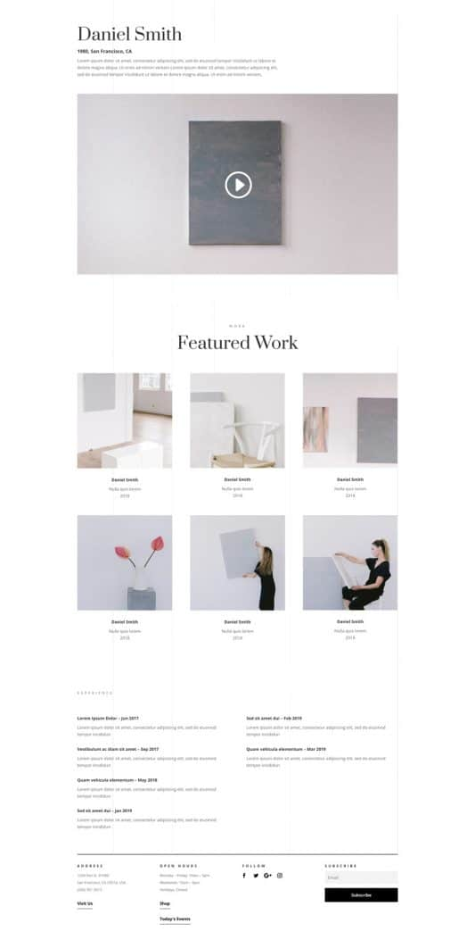 Art Gallery Artist Page Style 1