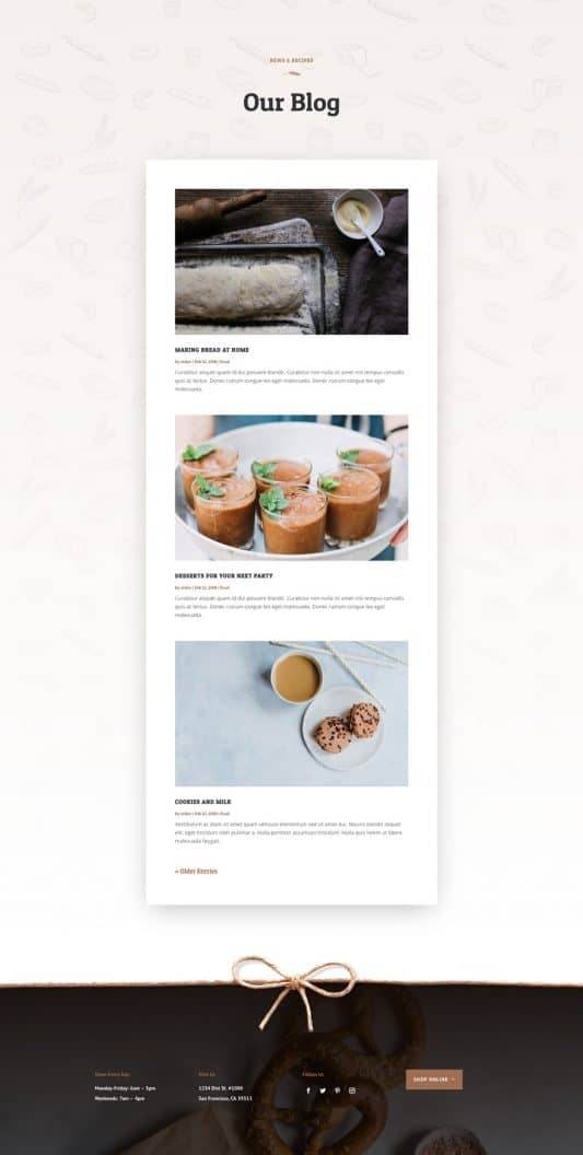 Bakery Blog Page Style 1