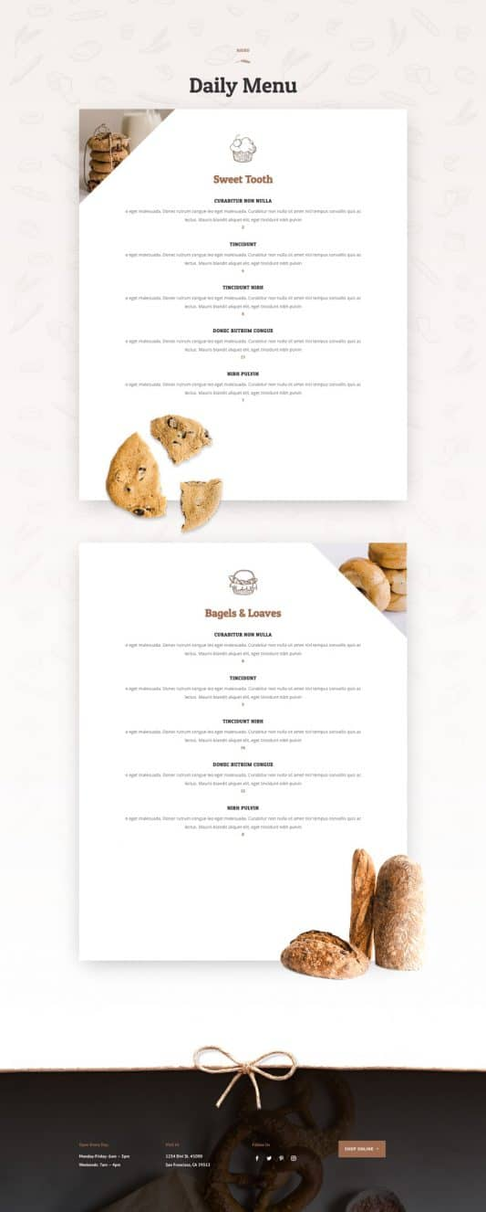 Bakery Web Design 4
