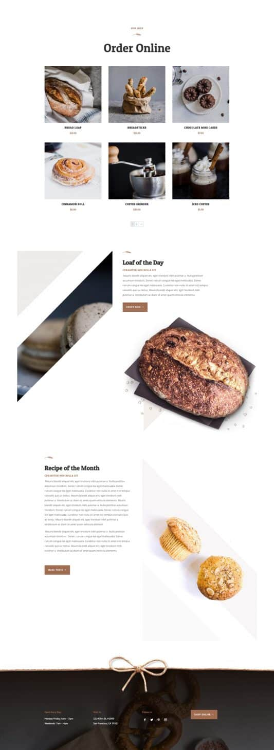 Bakery Shop Page Style 1