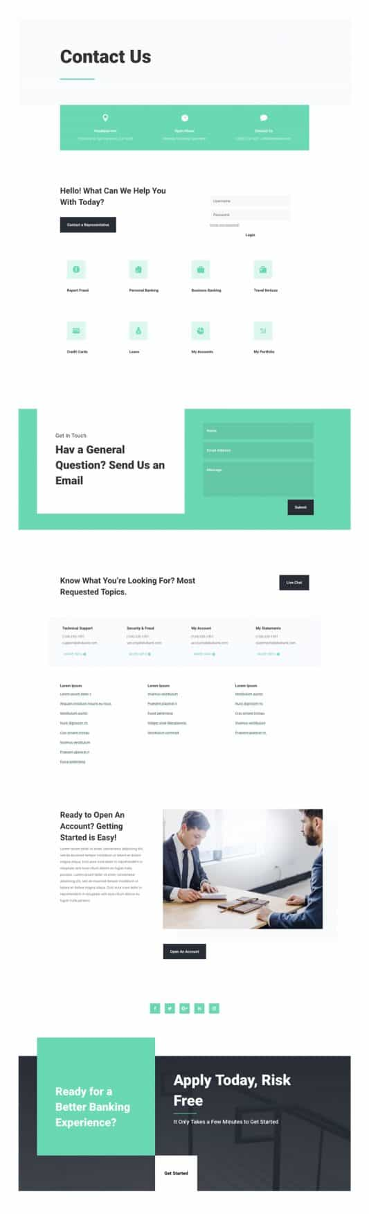 Bank Contact Page Style 1