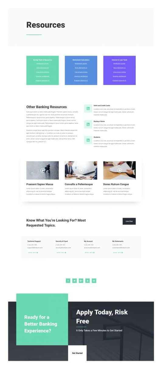 Bank Resources Page Style 1