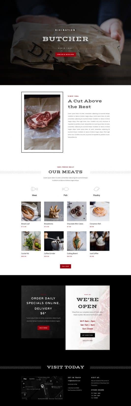 Butcher Home Page Style 1