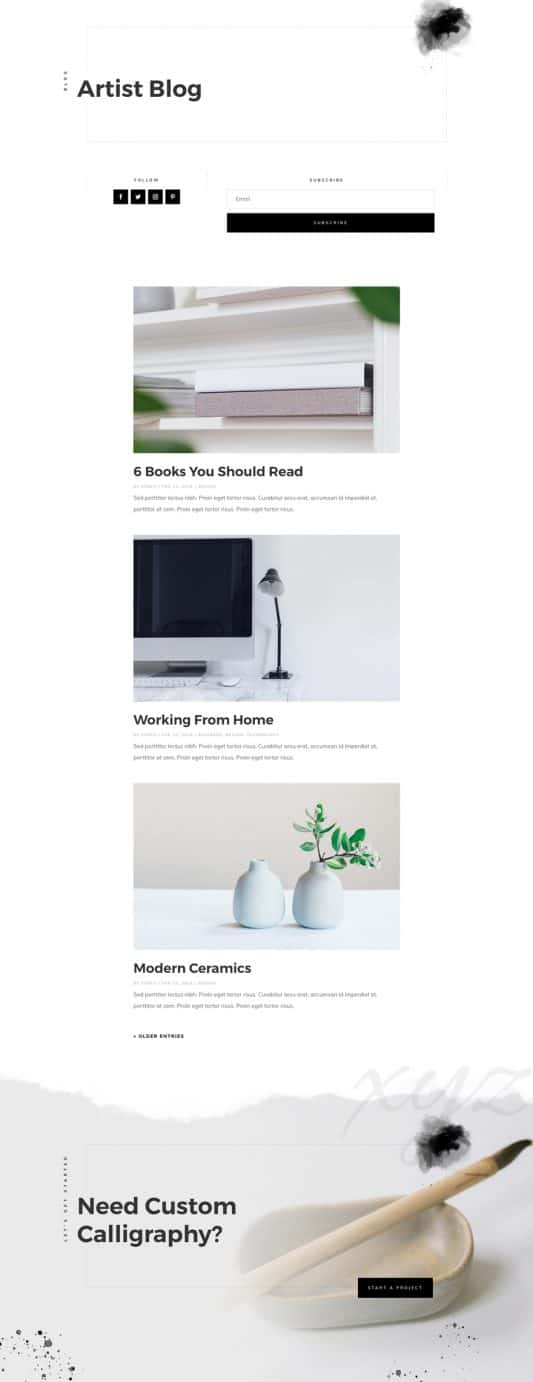 Calligrapher Blog Page Style 1