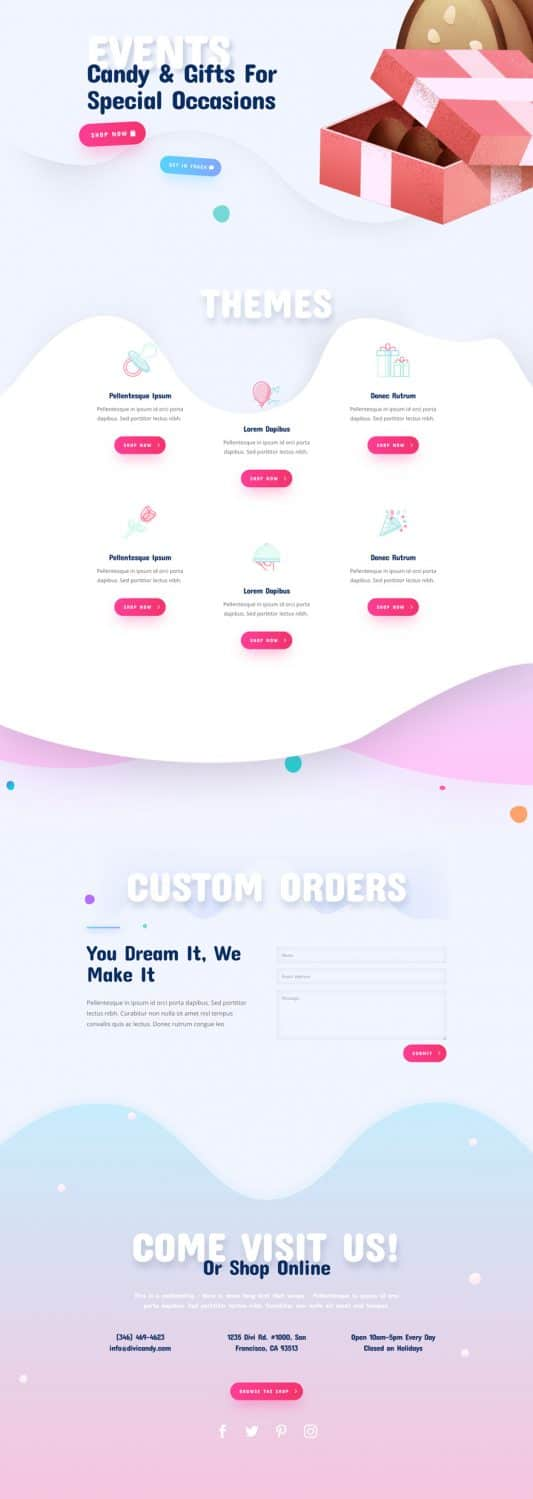Candy Shop Services Page Style 1