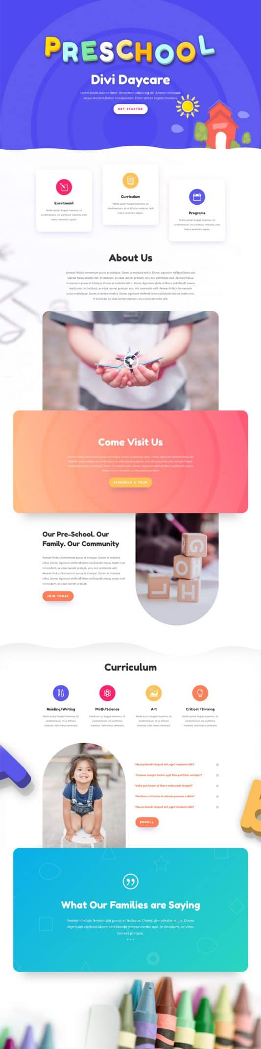 Day Care Landing Page Style 1