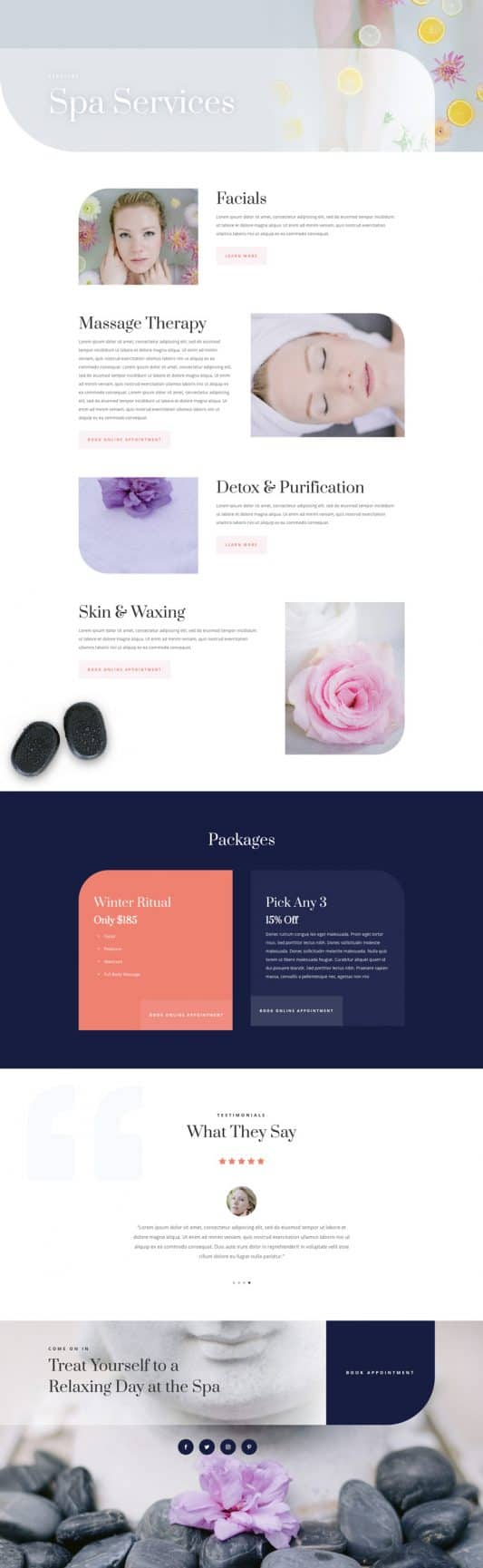 Day Spa Services Page Style 1