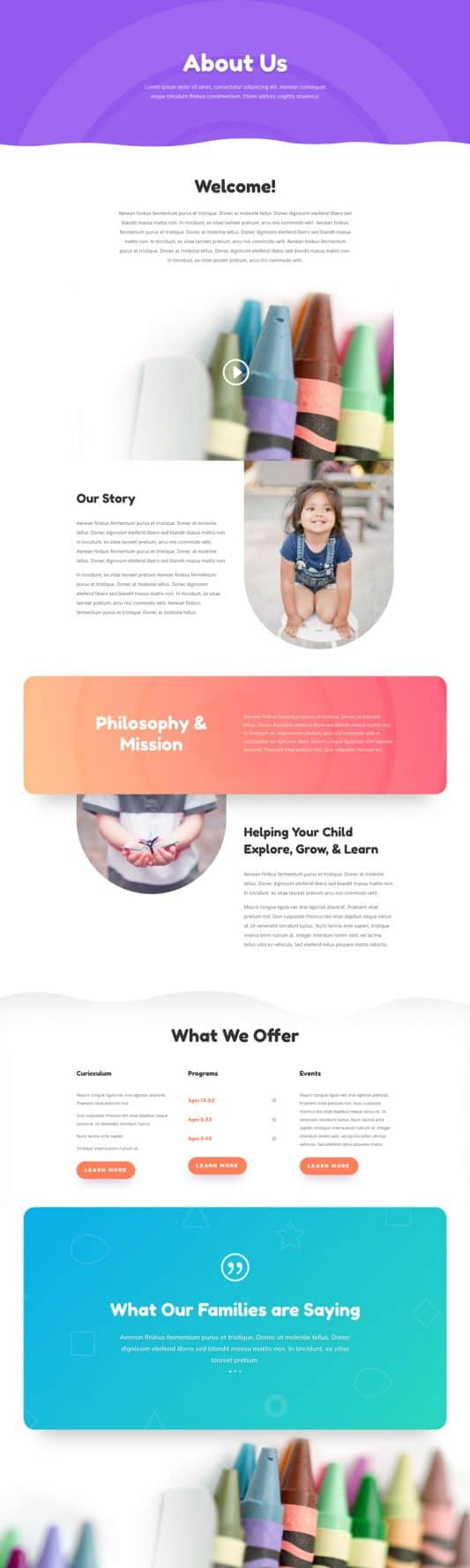 Day Care Web Design 3