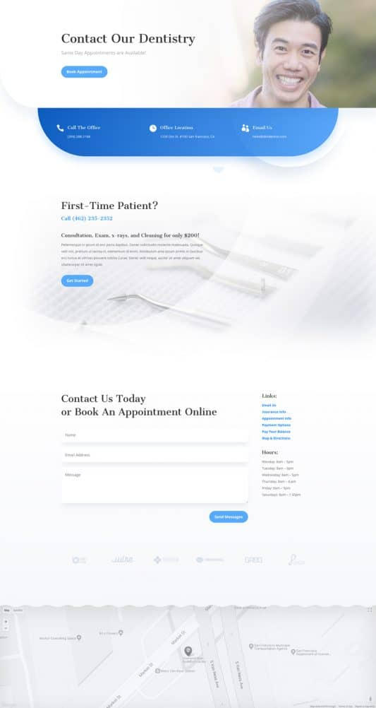 Dentist Contact Page Style 1