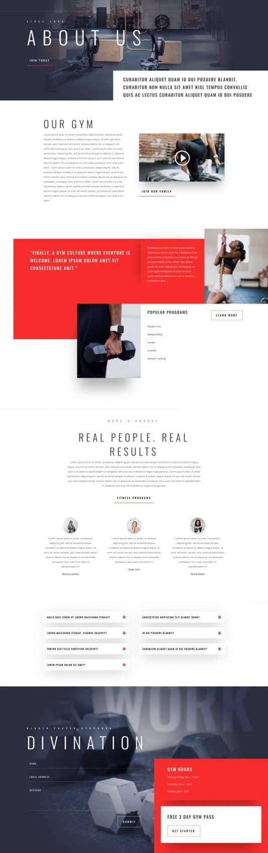 Fitness Gym Web Design 1
