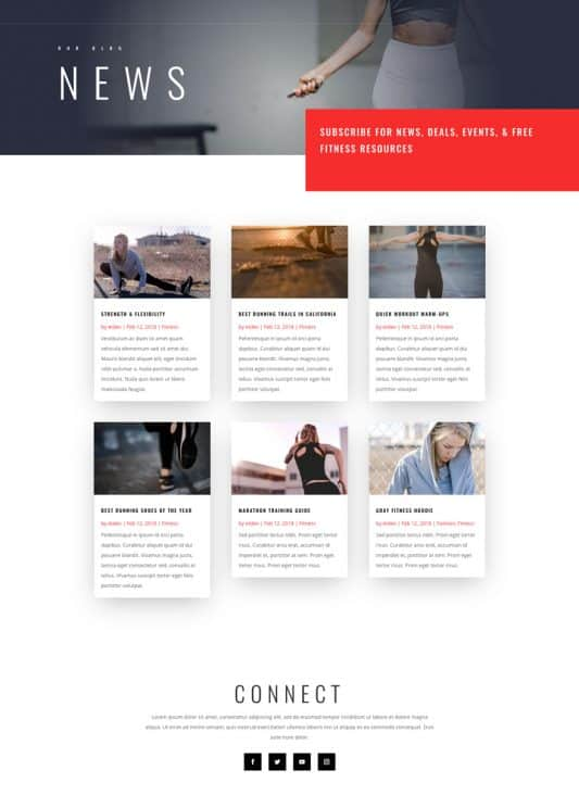 Fitness Gym Blog Page Style 1
