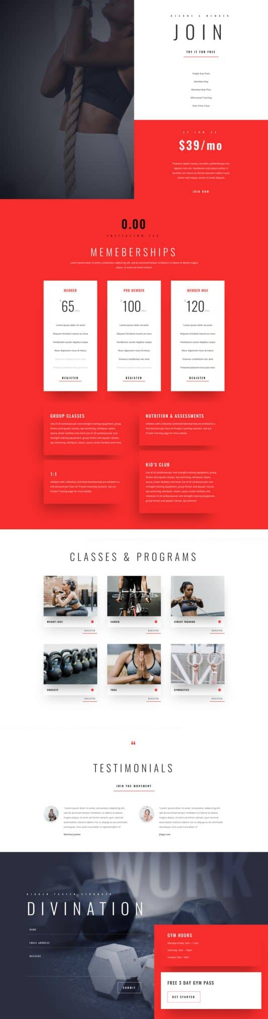 Fitness Gym Pricing Page Style