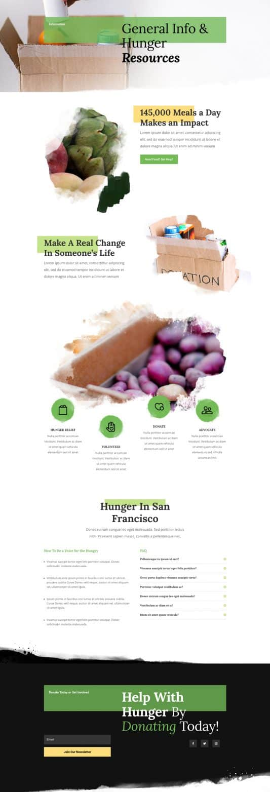Food Bank Information Page Style 1