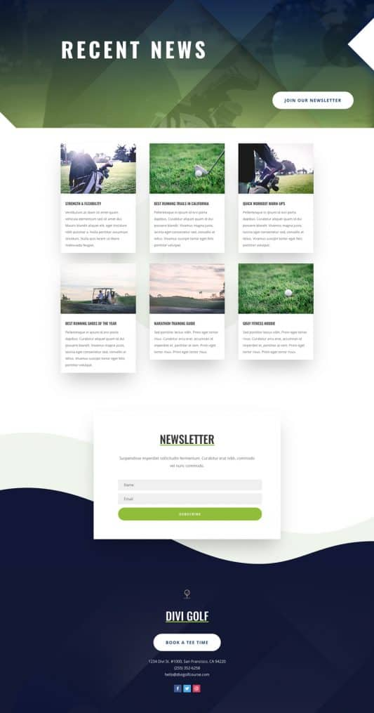 Golf Course Blog Page Style 1