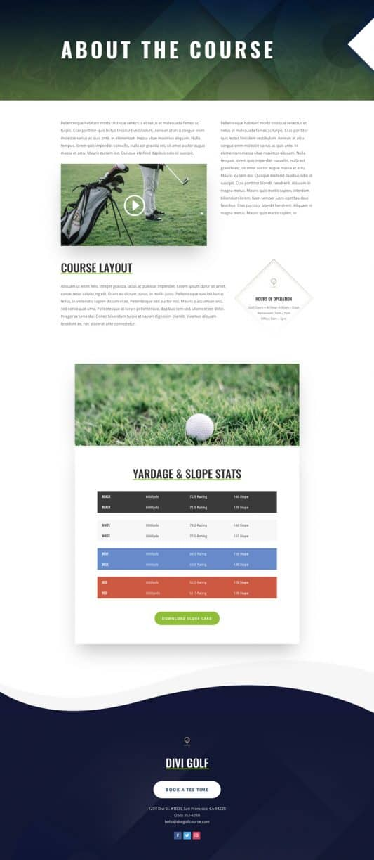 Golf Course Courses Page Style 1