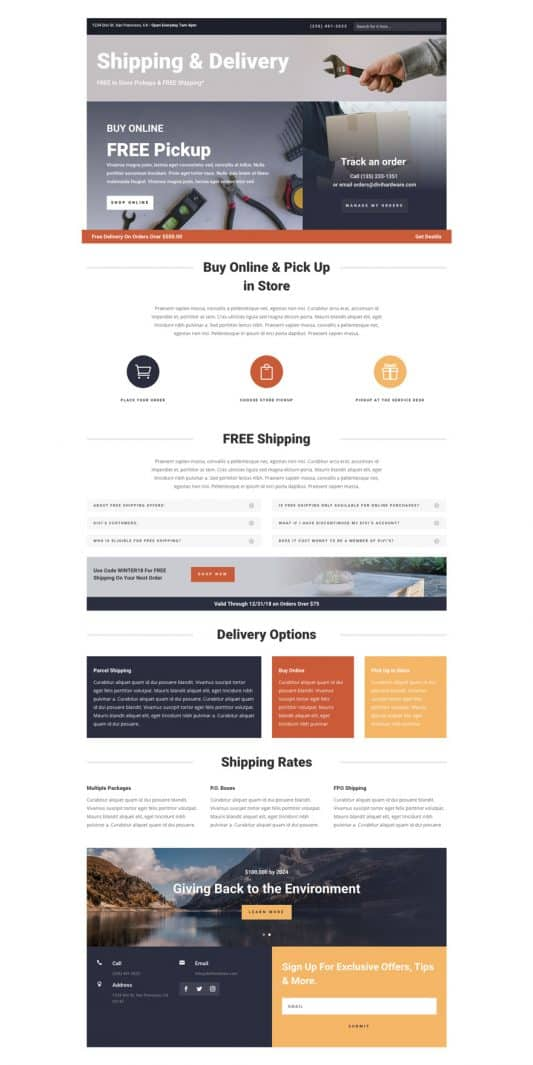 Hardware Store Shipping Page Style 1