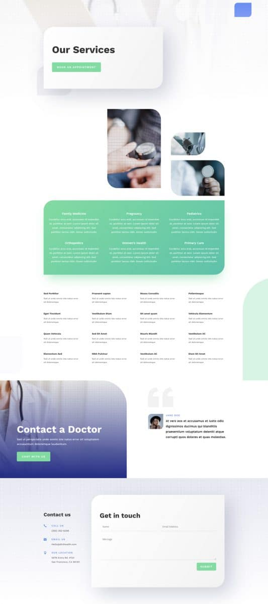 Health Clinic Services Page Style 1