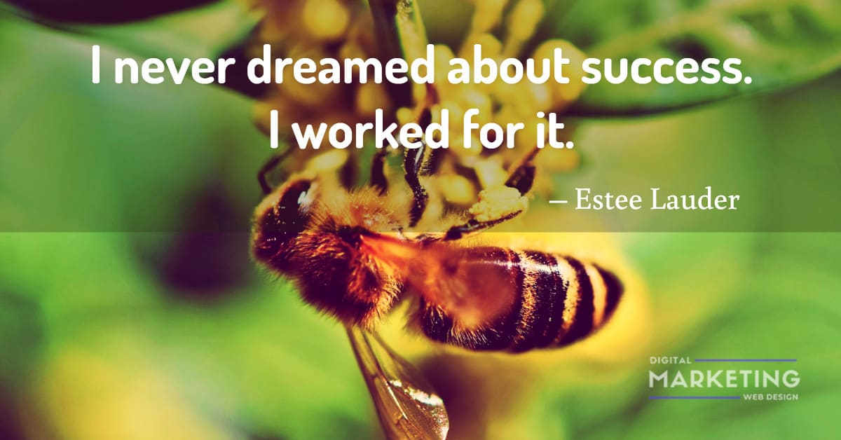 I never dreamed about success. I worked for it – Estee Lauder 1