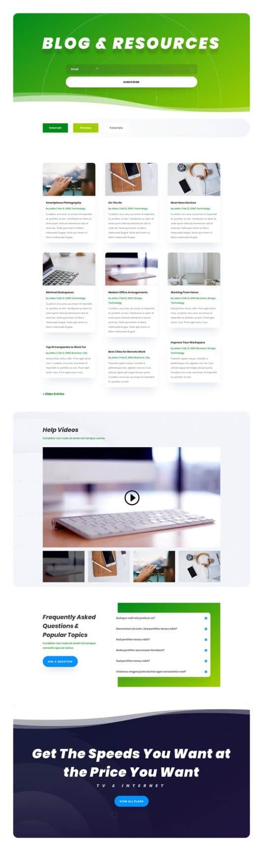 Internet Service Provider Web Design 2