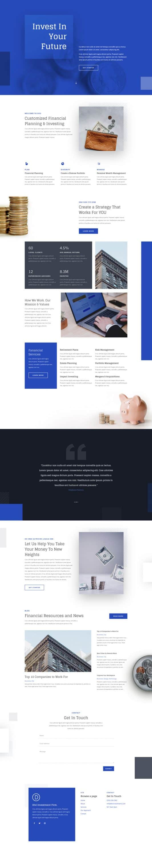 Investment Company Landing Page Style 1