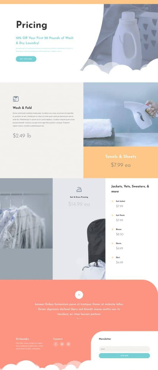Laundry Service Pricing Page Style 1