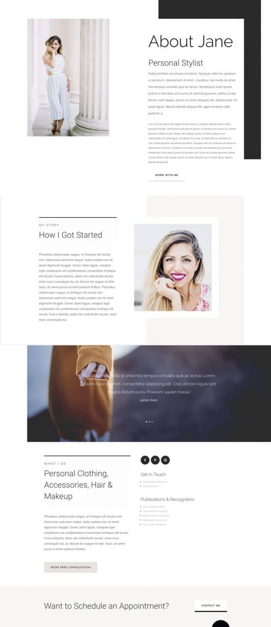 Personal Stylist Web Design 1