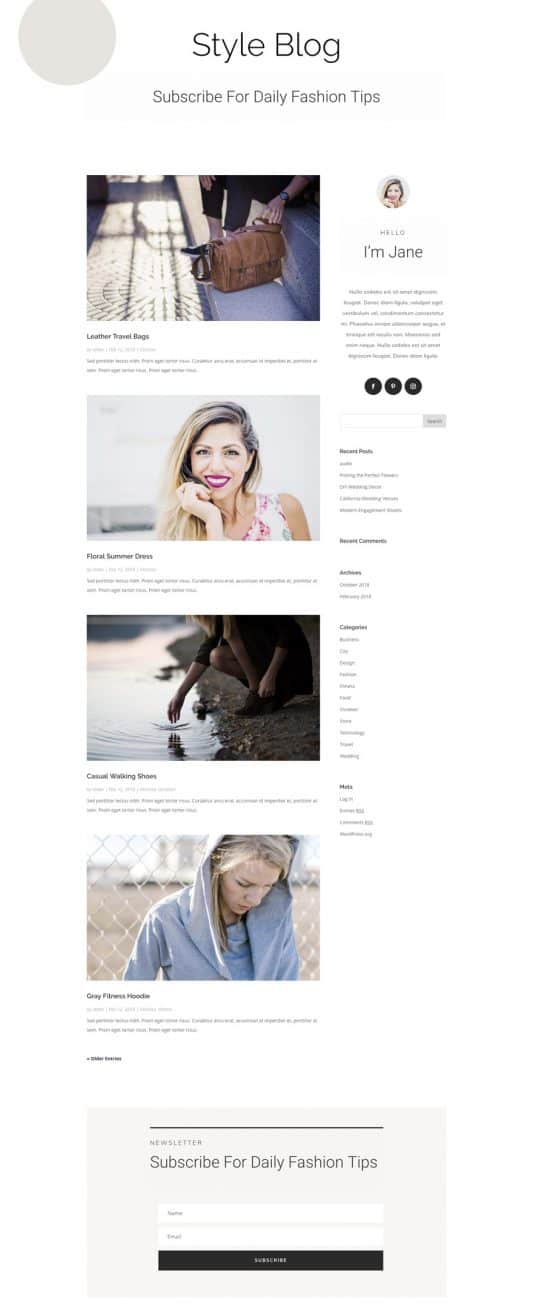 Personal Stylist Blog Page Style 1