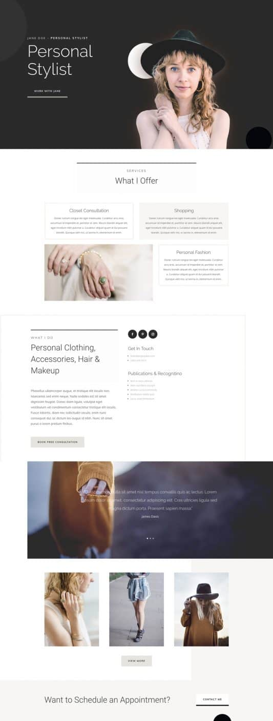 Personal Stylist Home Page Style 1