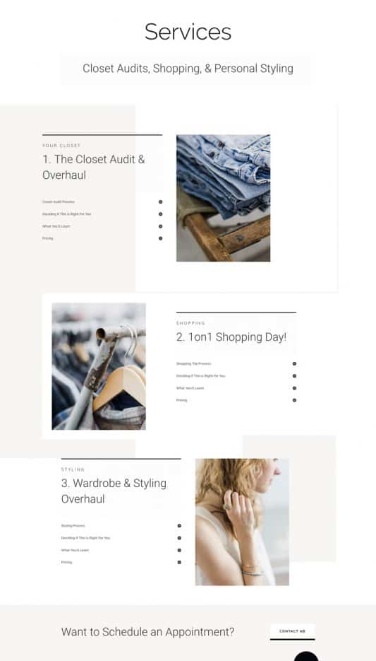 Personal Stylist Services Page Style 1
