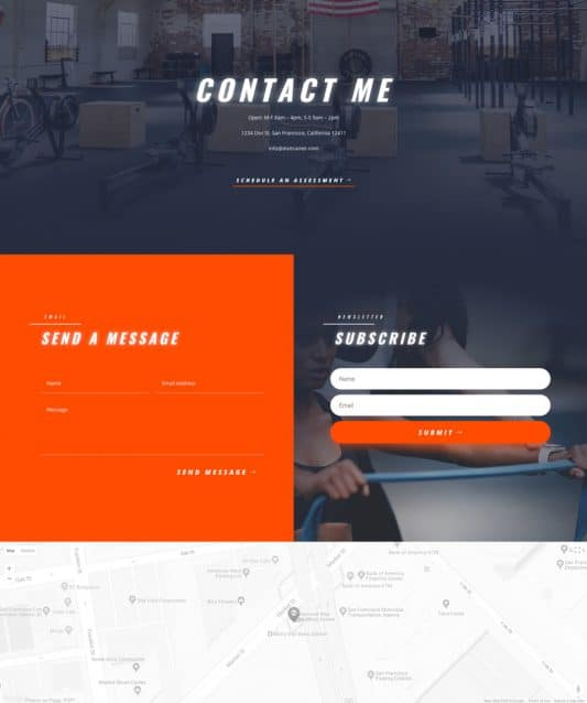 Personal Trainer Contact Page Style 1