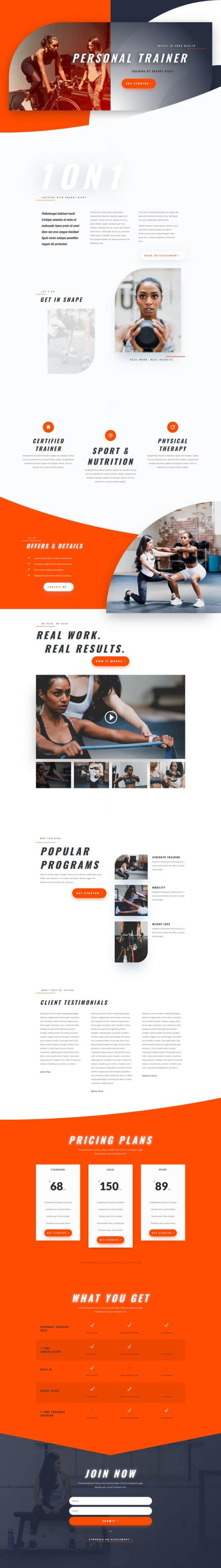 Personal Trainer Landing Page Style 1