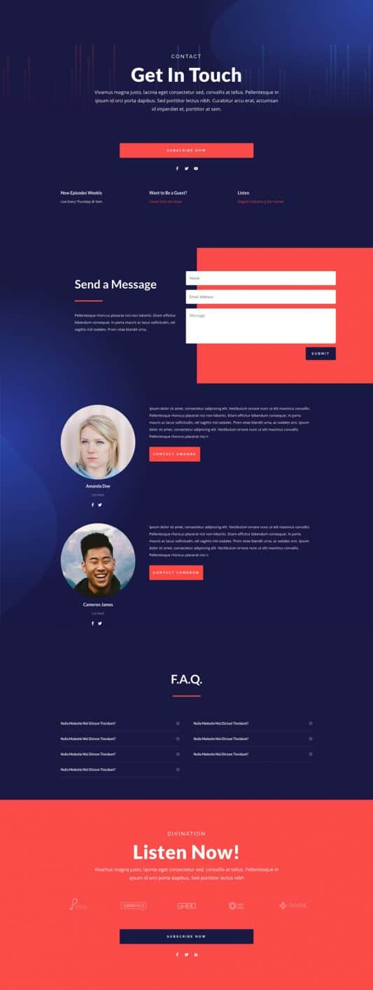 Podcast Contact Page Style 1