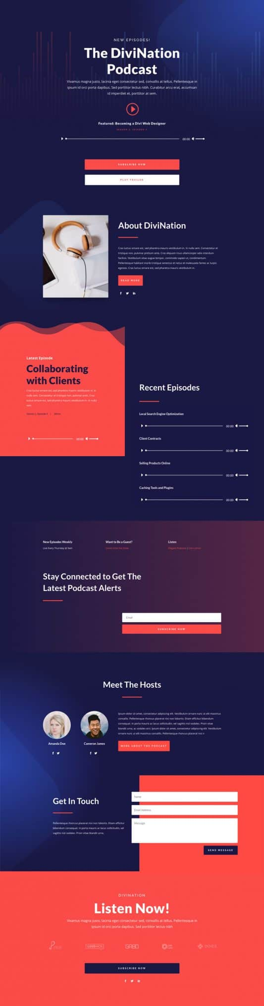 Podcast Landing Page Style