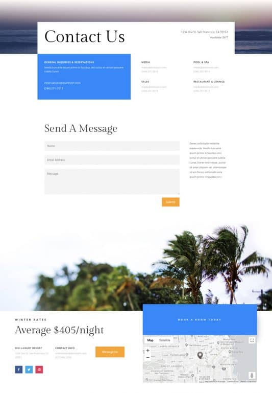 Resort Contact Page Style 1