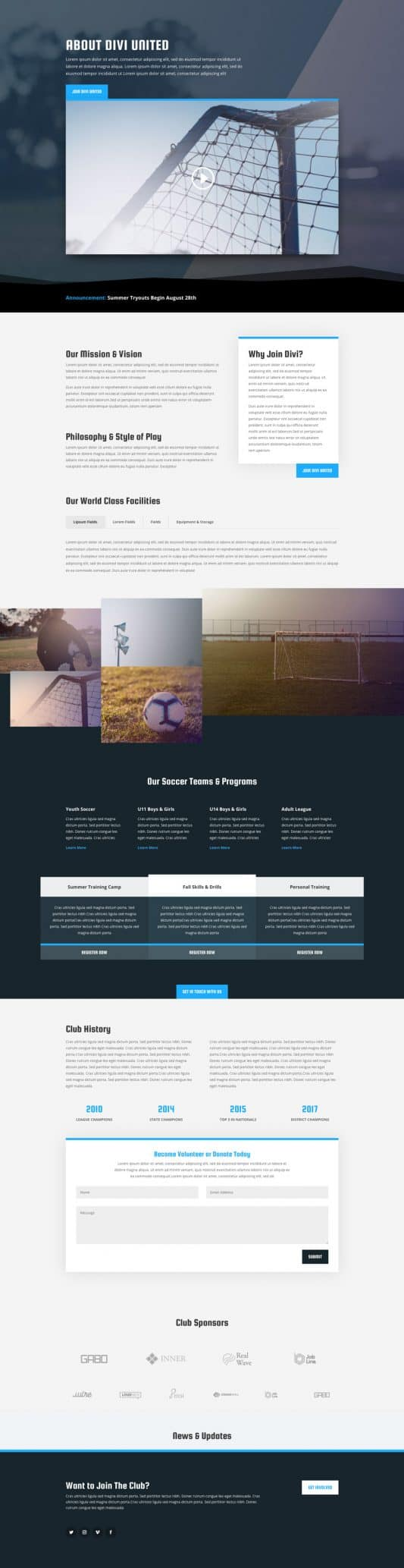 Soccer Club Web Design 1