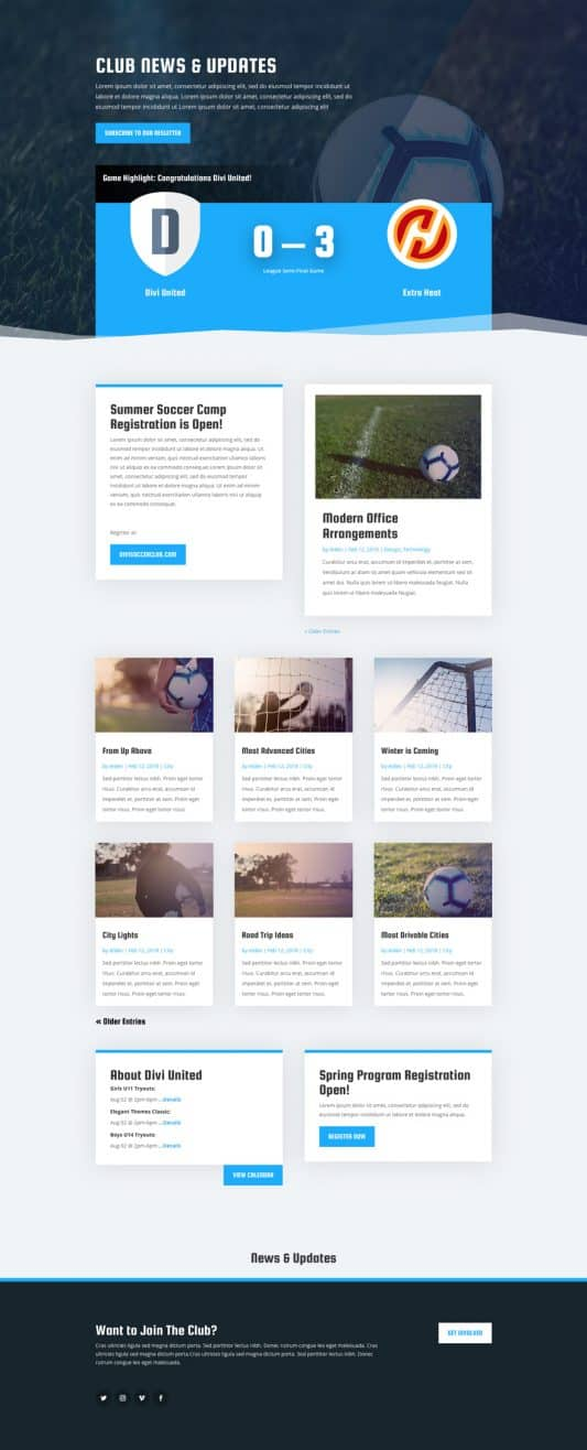Soccer Club Web Design 2