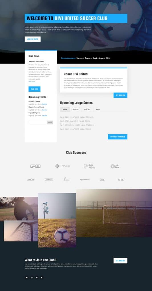 Soccer Club Web Design 4