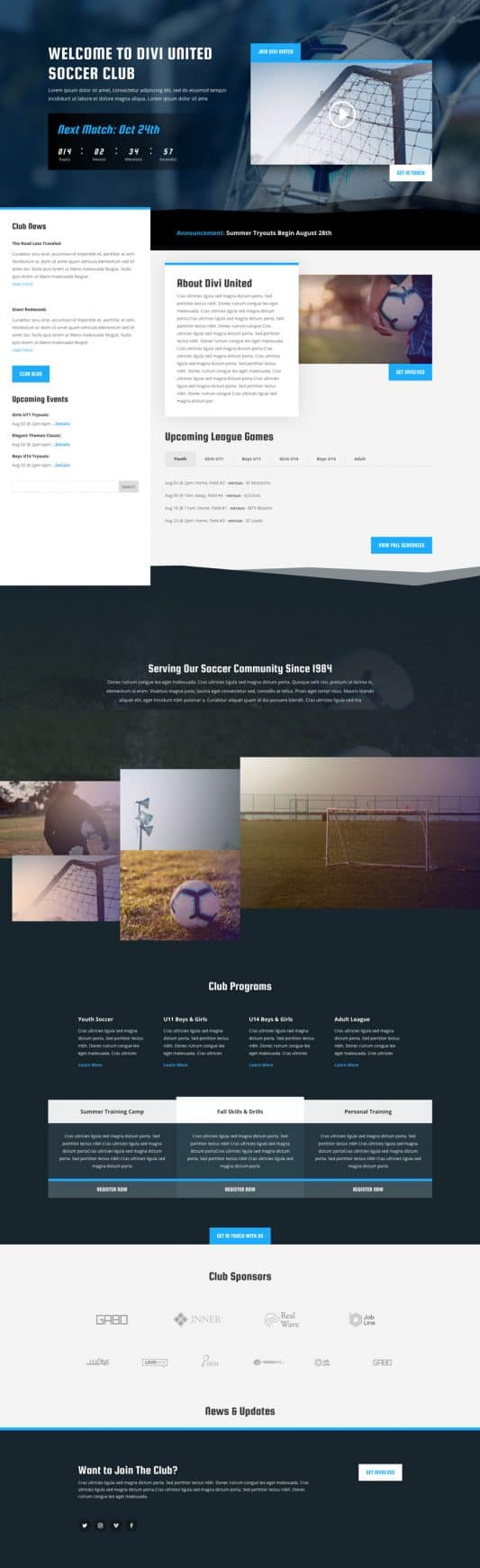 Soccer Club Web Design 5