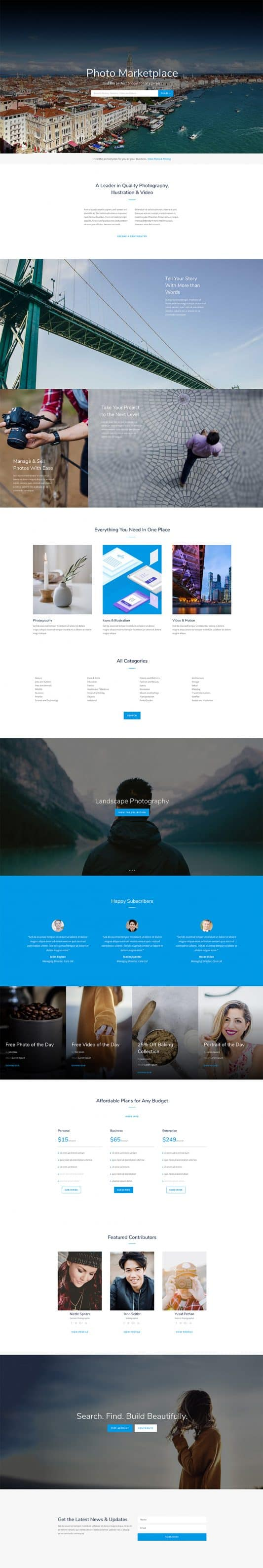 The Photo Marketplace Page Style: Homepage Design 1