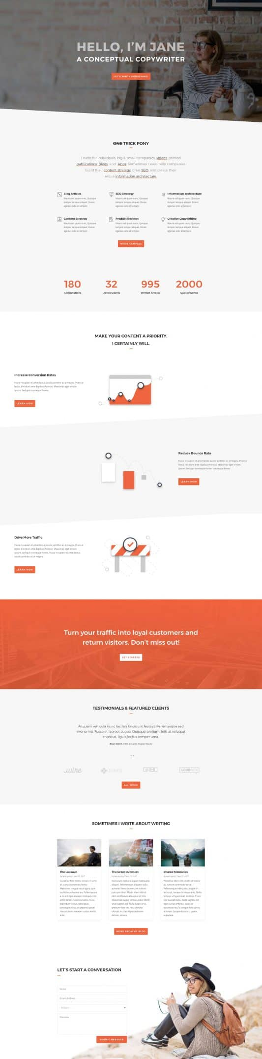 The Copywriter Page Style: Homepage Design 1