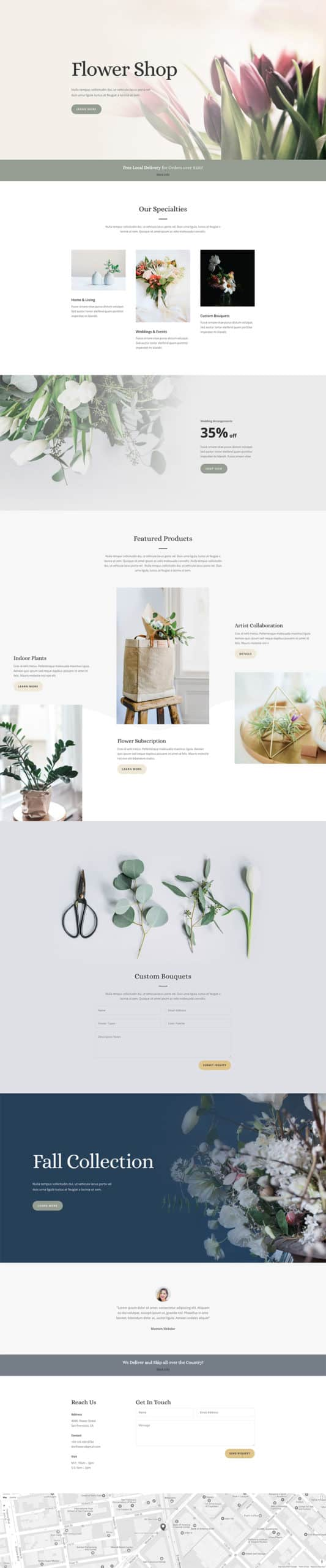The Florist Page Style: Homepage Design 1