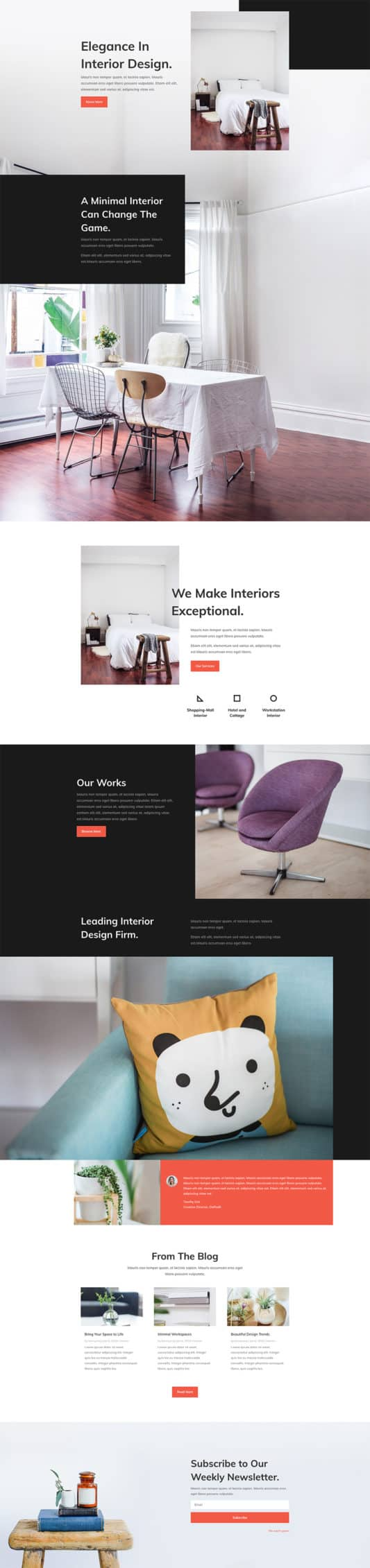 The Interior Design Company Page Style: Homepage Design 1