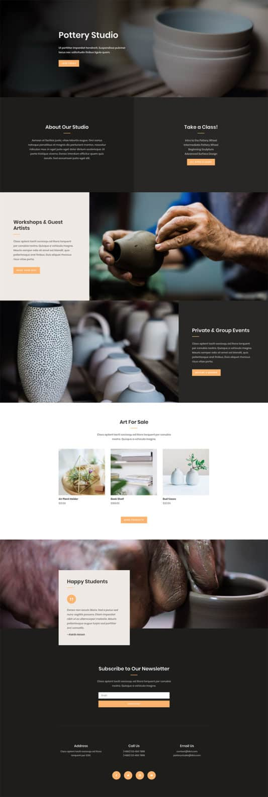 The Pottery Studio Page Style: Homepage Design 1