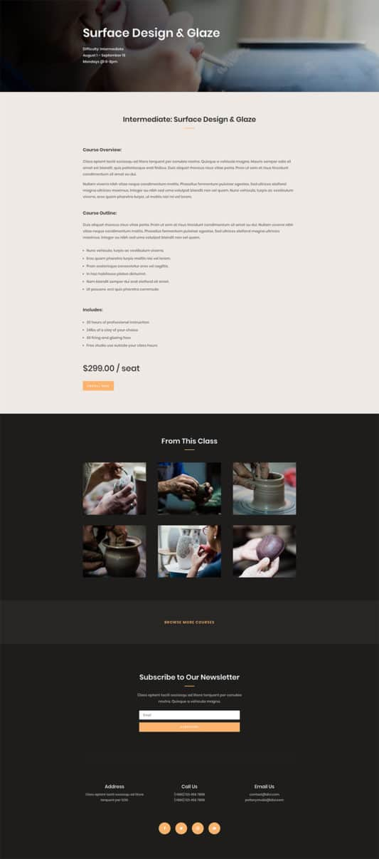 Pottery Studio Web Design 3