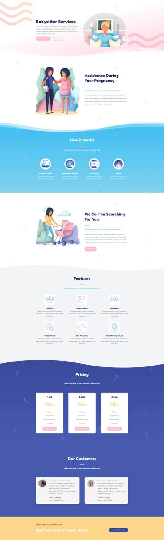 The Babysitter Page Style: Homepage Design 1