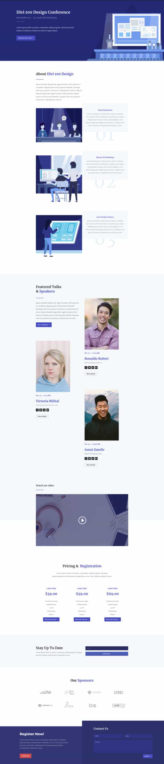 The Design Conference Page Style: Homepage Design 1