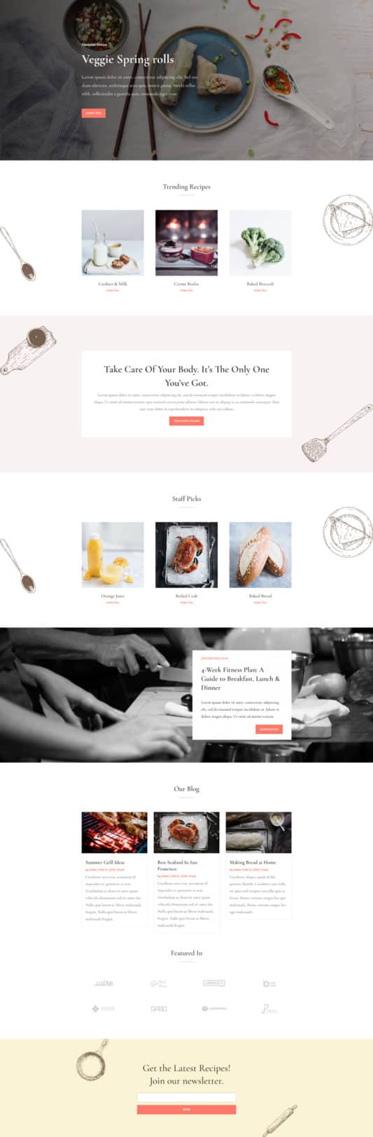 The Food Recipes Page Style: Homepage Design 1