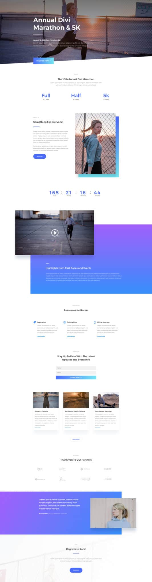 The Marathon Page Style: Homepage Design 1