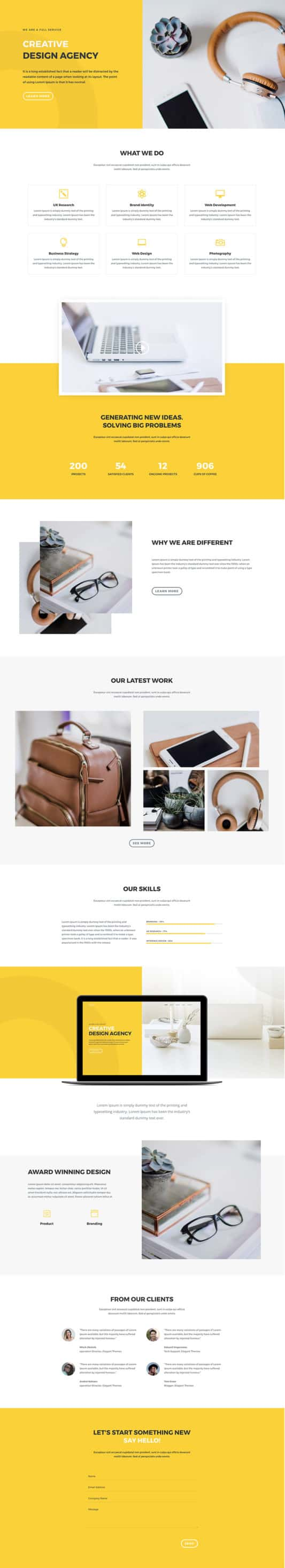 The Design Agency Page Style: Homepage Design 1